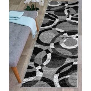 Contemporary Modern Circles Grey Abstract Area Runner Rug (2' x 7'2)