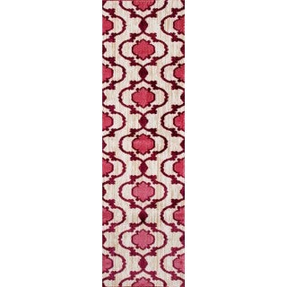 New Modern Moraccan Trellis Pink/Red Soft Area Rug Runner (2' x 7'2)