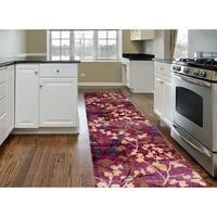 "Multicolored Polypropylene Floral Runner Rug (2' x 7'2) - 2' x 7'2"""