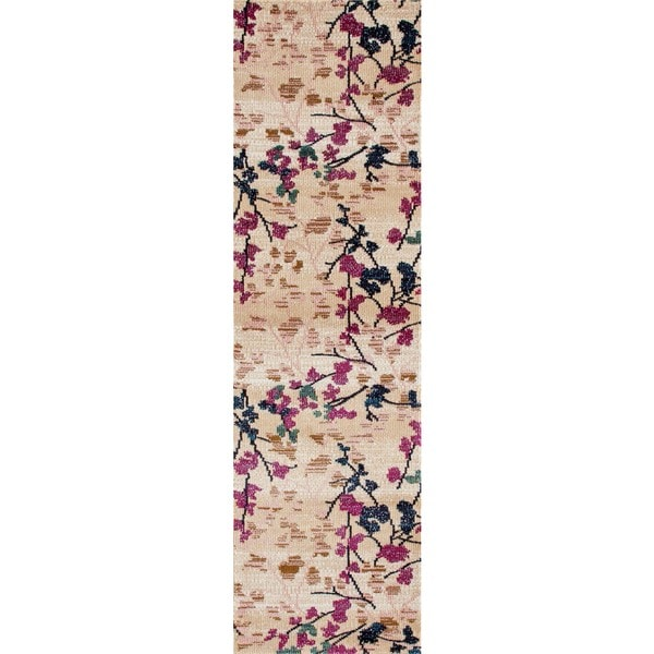 Contemporary Floral Cream Soft Area Rug Runner (2' x 7'2)