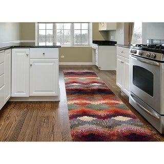 Distressed Modern Geometric Multicolored Polypropylene Soft Area Rug Runner (2' x 7'2)