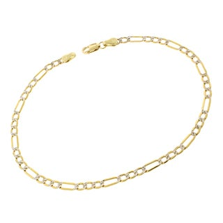 10k Gold 3mm Diamond Cut Pave Two-tone Figaro Hollow Bracelet Chain