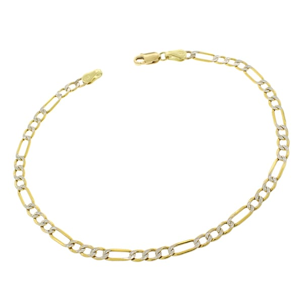 10k Yellow Gold 3 5mm Hollow Figaro Link Diamond Cut Two Tone Pave Bracelet Chain