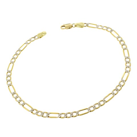 """10k Yellow Gold 3.5mm Hollow Figaro Link Diamond Cut Two-Tone Pave Bracelet Chain 8"""""""