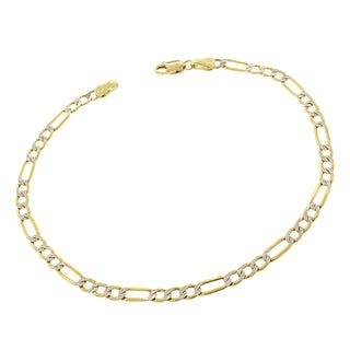 10k Gold 3.5mm Hollow Figaro Diamond Cut Pave Two-tone Bracelet Chain