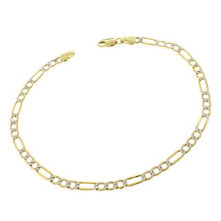 10k Yellow Gold 3.5mm Hollow Figaro Link Diamond Cut Two-Tone Pave Bracelet Chain 8""