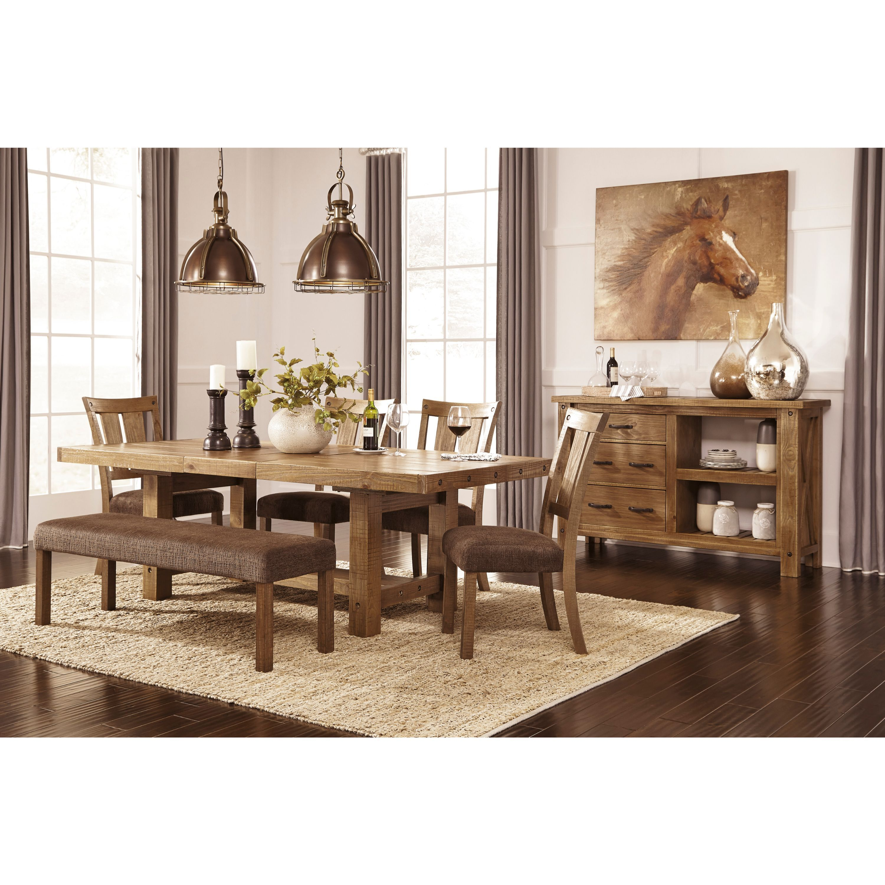 Signature Design By Ashley Tamilo Brown Large 4 Piece Dining Room Set