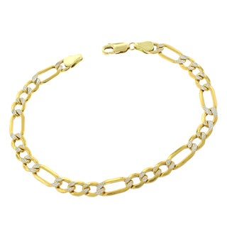 10k Yellow Gold 6-millimeter Hollow Figaro Diamond-cut Pave Two-tone Bracelet Chain