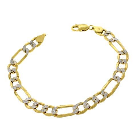 """10k Yellow Gold 8mm Hollow Figaro Link Diamond Cut Two-Tone Pave Bracelet Chain 9"""""""