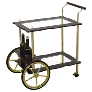 Uniqueware 2-tier Clear Tempered Glass Brass/Wood Serving Tea Cart