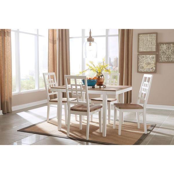 Signature design by ashley brovada two tone 5 piece dining for 2 tone dining room sets