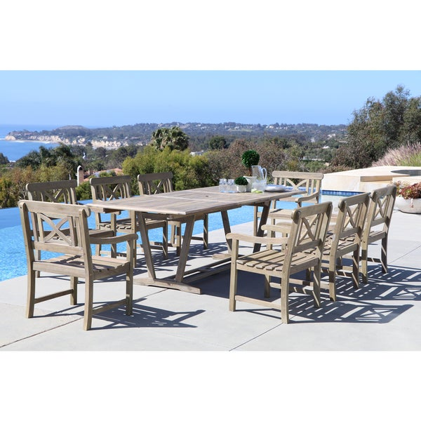 Renaissance Eco Friendly 9 Piece Outdoor Hand Scraped Hardwood Dining Set  With Rectangle