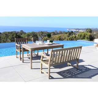 Renaissance Eco-friendly 4-piece Outdoor Hand-scraped Hardwood Dining Set with Rectangle Table, Bench and Arm Chairs