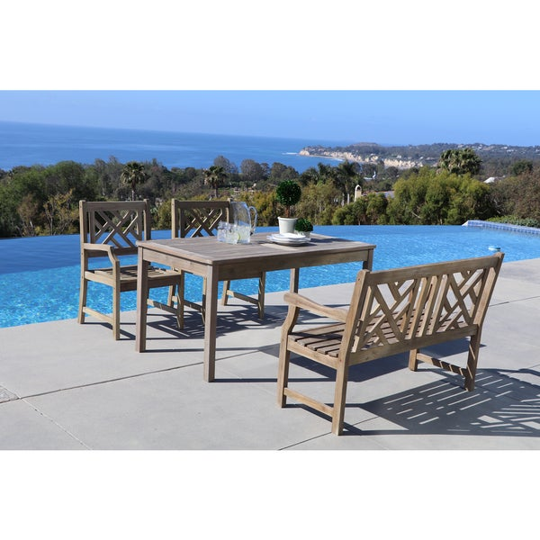 Renaissance Ecofriendly Piece Outdoor Handscraped Hardwood - Rectangle table with 4 chairs