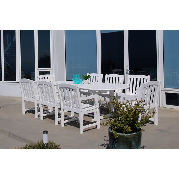 Bradley Eco Friendly 9 Piece Outdoor White Hardwood Dining Set With Oval  Extension Table