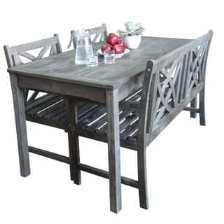 Buy Wood Outdoor Dining Sets Online At Overstockcom Our Best - Outdoor wood dining table with benches