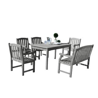 Renaissance Eco-friendly 6-piece Outdoor Hand-scraped Hardwood Dining Set with Rectangle Table, 4-foot Bench and Arm Chairs