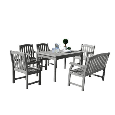 Surfside Eco-friendly 6-piece Hand-scraped Hardwood Dining Set by Havenside Home