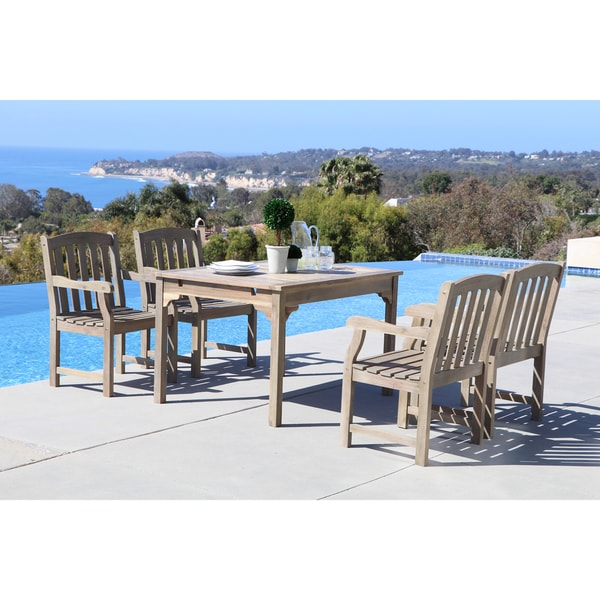 Renaissance Eco Friendly 5 Piece Outdoor Hand Scraped Hardwood Dining Set  With Rectangle