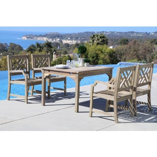 Renaissance Eco-friendly 5-piece Outdoor Hand-scraped Hardwood Dining Set with Rectangle Table, 4-foot Bench and Arm Chairs