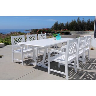 The Gray Barn Bluebird Eco-friendly 9-piece Outdoor White Hardwood Dining Set with Rectangle extension Table and Arm Chairs