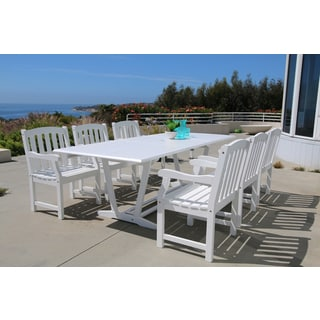 Bradley Eco-friendly 7-piece Outdoor White Hardwood Dining Set with Rectangle extension Table and Arm Chairs