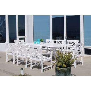 Bradley Eco-friendly 9-piece Outdoor White Hardwood Dining Set with Rectangle extension Table and Arm Chairs
