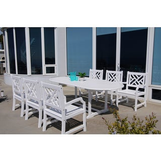 Havenside Home Surfside Eco-friendly 7-piece Outdoor White Hardwood Dining Set with Oval extension Table and Arm Chairs
