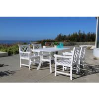 Bradley Eco-friendly 5-piece Outdoor White Hardwood Dining Set with Rectangle Table and Arm Chairs