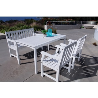 Bradley Eco-friendly 4-piece Outdoor White Hardwood Dining Set with Rectangle Table, 4-foot Bench and Arm Chairs