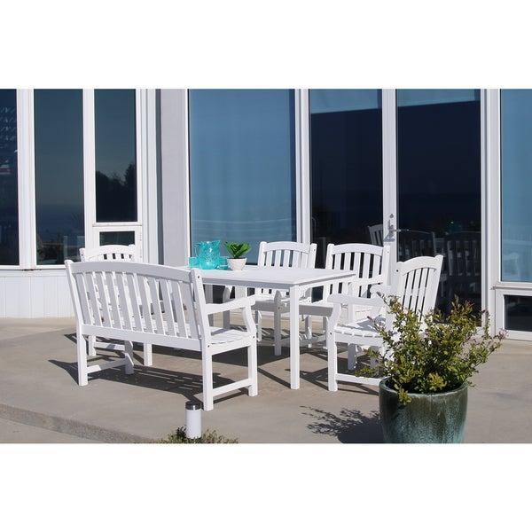 Havenside Home Surfside Eco-friendly 6-piece White Hardwood Dining Set