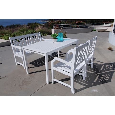 Bradley Eco-friendly 4-piece Outdoor White Hardwood Dining Set with Rectangle Table, 4-foot Bench an