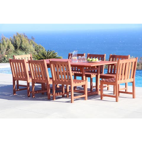 Surfside Eco-friendly 9-piece Outdoor Hardwood Dining Set with Rectangle extension Table and Arm Chairs by Havenside Home