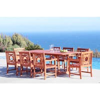 Havenside Home Surfside Eco-friendly 9-piece Outdoor Hardwood Dining Set with Rectangle extension Table and Arm Chairs