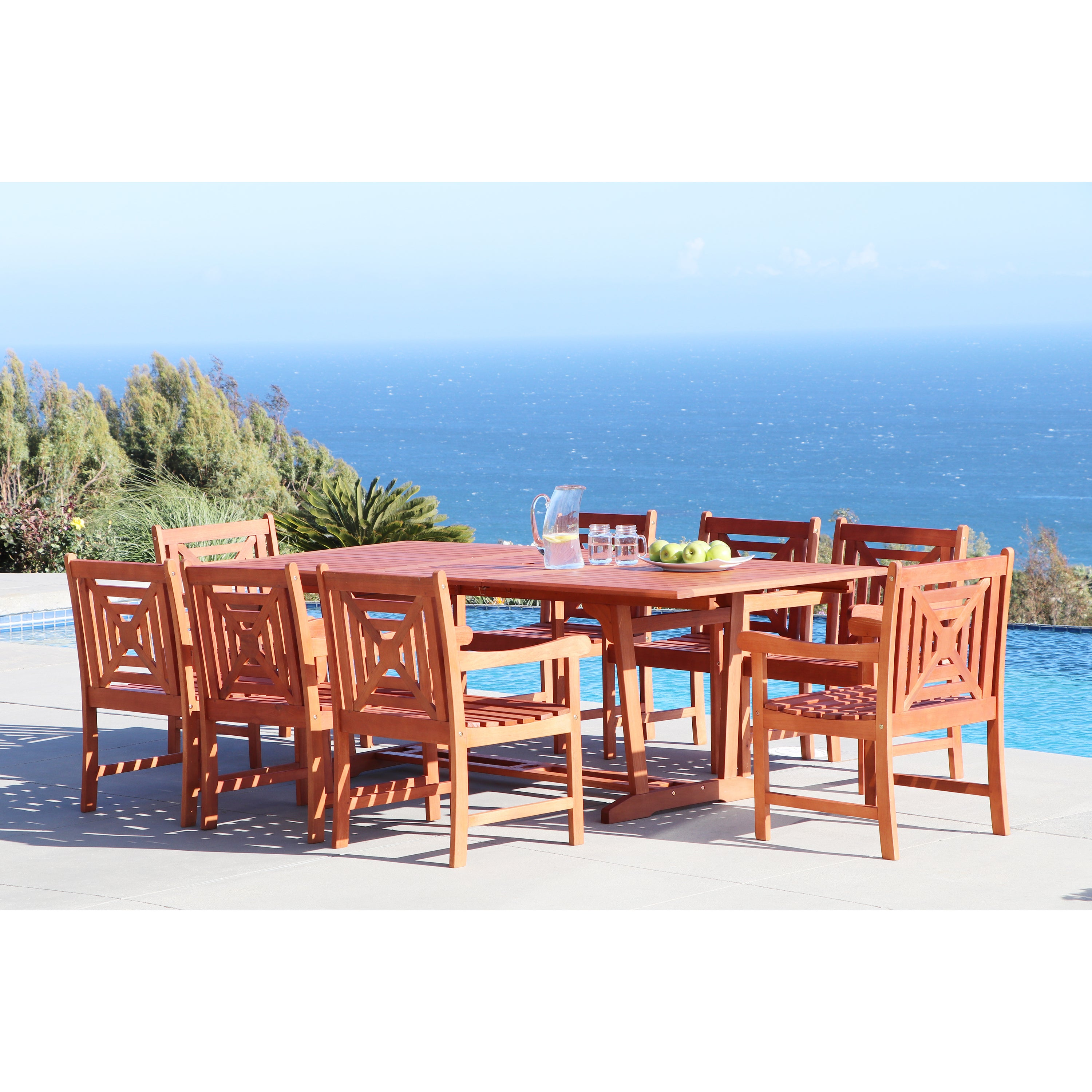 Havenside Home Surfside Eco-friendly 9-piece Outdoor Hardwood Dining Set with Rectangle extension Table and Arm Chairs (Natural Wood)