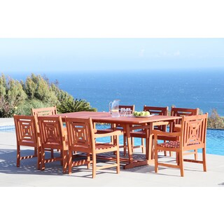 Malibu Eco-friendly 9-piece Outdoor Hardwood Dining Set with Rectangle extension Table and Arm Chairs