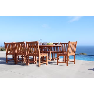 Malibu Eco-friendly 9-piece Outdoor Hardwood Dining Set with Rectangle extension Table and Armless Chairs