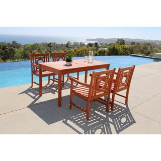 Havenside Home Surfside Eco-friendly 5-piece Outdoor Hardwood Dining Set with Rectangle Table and Arm Chairs