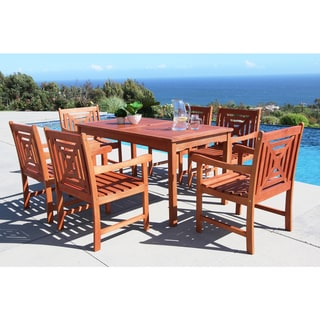 Havenside Home Surfside Eco-friendly 7-piece Outdoor Hardwood Dining Set with Rectangle Table and Arm Chairs