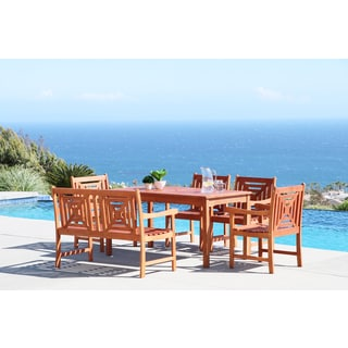 Malibu Eco-friendly 6-piece Outdoor Hardwood Dining Set with Rectangle Table, 4-foot Bench and Arm Chairs