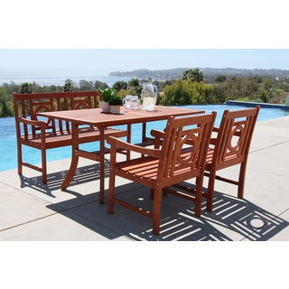 Malibu Eco-friendly 4-piece Outdoor Hardwood Dining Set with Rectangle Table, 4-foot Bench and Arm Chairs
