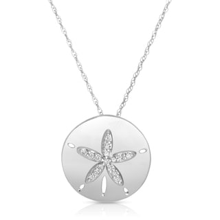 Eloquence 14k White Gold 1/6ct TDW Diamond Sand Dollar Fashion Pendant (H-I, I1)