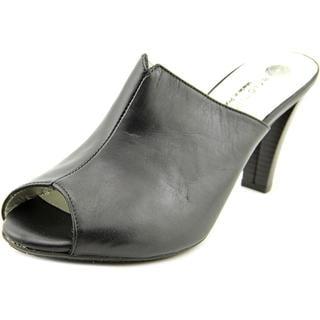 Eric Michael Women's Kathy Black Leather Open-toe Sandals