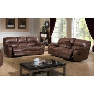 Leighton Two (2) Piece Transitional Reclining Sofa and Loveseat With Storage Console