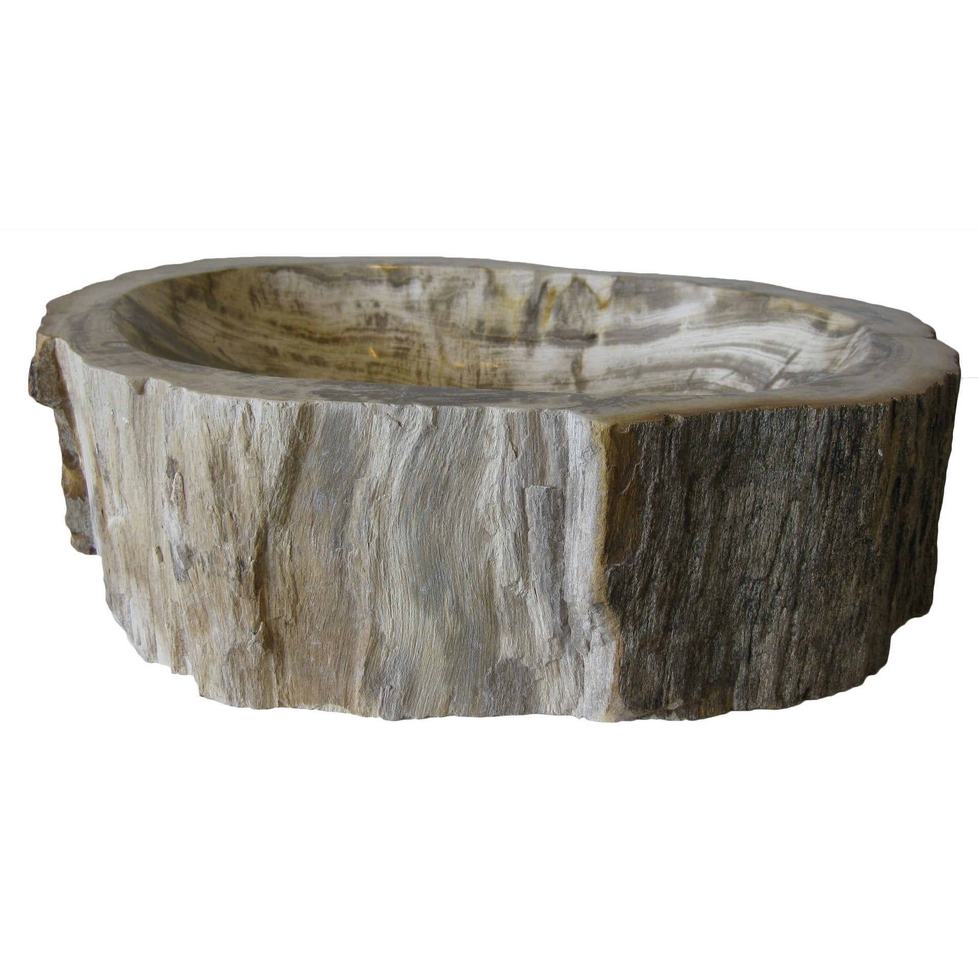 Novatto Natural Petrified Fossil Wood Vessel Sink (Fossil...