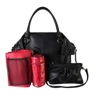 Diophy PU Leather Tote Diaper Bag with Baby Changing Pad and Bottle Insulation