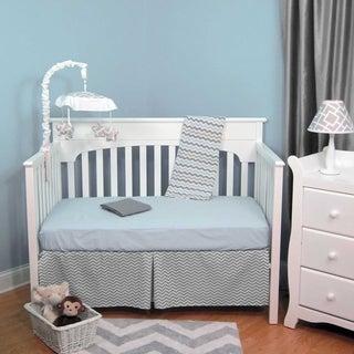 Blue and Grey Chevron Zig Zag 5-piece Baby Crib Bedding Set