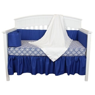 Royal Blue and White Geometric Modern Design Baby Crib Bedding 5-piece Set