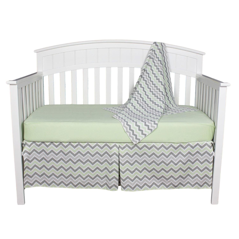 AMERICAN BABY COMPANY (ABC) Green and Grey Chevron Zig Za...