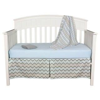 Grey and Blue Chevron Zigzag 5-piece Baby Boy Crib Bedding